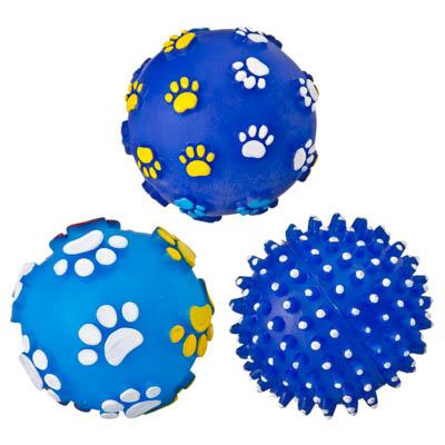 "183-021 Игрушка-пищалка, резина, d7,5 см, 3 дизайна, ""Мячик"""