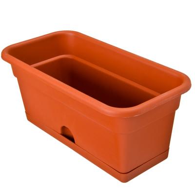 174-130 Ящик для цветов балконный, пластик, 40x20x17 см, 8 л, терракот, арт. ЯБ0140