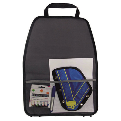 768-443 NEW GALAXY ECO Защита спинки сиденья с карманами 60х40см экокожа, мишка, черн.