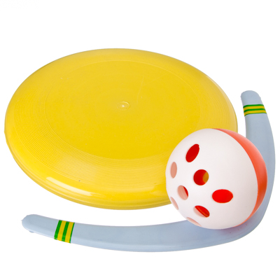 """134-071 Набор №1 """"Летающая игрушка"""" (Бумеранг """"Малый"""" 30см, Летающая тарелка """"Фрисби"""" 23см, Мячик), пластик,"""