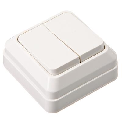 904-090 Выключатель двухклавишный белый, накладной 10А, 250В, пластик ABS