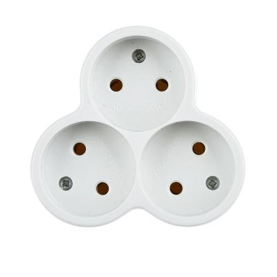 907-070 FORZA Разветвитель 3 гнезда, евро, без заземления, ABS, 10-16А, 250V, белый, медь