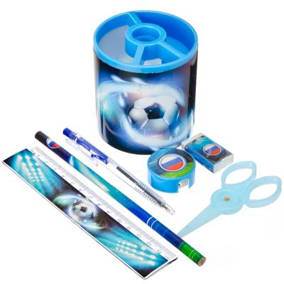 583-002 Футбол Набор канцелярский 7 пр. (линейка,карандаш,ручка,точилка,ластик,ножницы,стакан), дизайн ГЦ