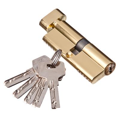 610-028 Сердцевина замка/ Цилиндровый механизм (алюминий/латунь) 80мм(40+40), кл-верт, 5кл (перфо), золото