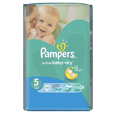 926-016 Подгузники детские PAMPERS Active Baby Junior (11-18 кг) Стандартная Упаковка пэт 16