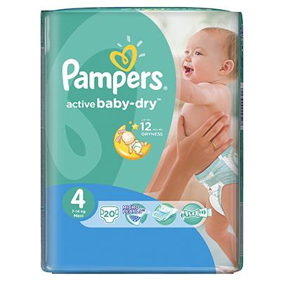 926-017 Подгузники детские PAMPERS Active Baby Maxi (7-14 кг) Стандартная Упаковка пэт 20