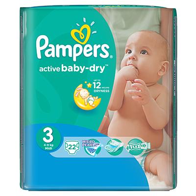 926-018 Подгузники детские PAMPERS Active Baby Midi (4-9 кг) Стандартная Упаковка пэт 22