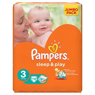 926-021 Подгузники детские PAMPERS Sleep & Play Midi (4-9 кг) Джамбо пэт 78