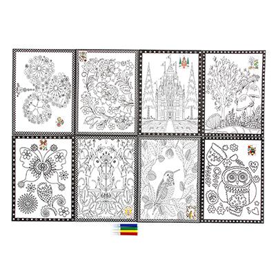 284-146 Раскраска антистресс, бумага, 26х19см, 4 фломастера, 8 дизайнов