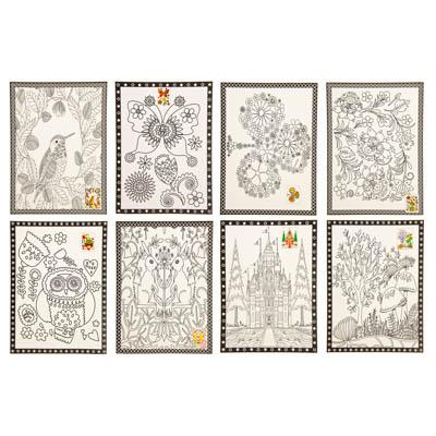 284-147 Раскраска антистресс (2 листа), бумага, 26х19см, 6 фломастеров, 8 дизайнов