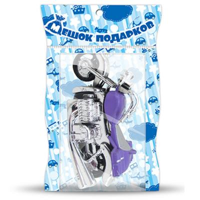261-218 МЕШОК ПОДАРКОВ Мотоцикл инерционный, пластик, 9,5х5х4см, 4 цвета