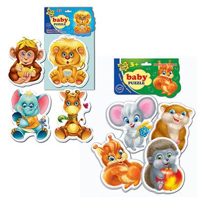 """272-378 ВЛАДИ ТОЙС Пазлы мягкие """"Baby puzzle Микс"""", бумага, ЭВА, 16х29х2см, 6-8 дизайнов, арт.1106-06"""