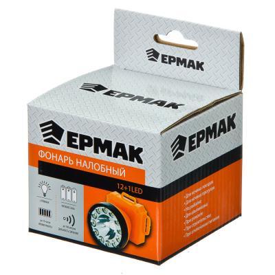 632-014 ЕРМАК Фонарик налобный, 12+1LED, пластик, 7,1x8,3см, пит.3xAA