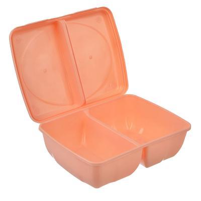 861-081 Ланч-бокс пластиковый, 19,5x14,5x6,5см, 2 отделения, 3 цвета, арт.Р2038