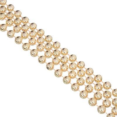 378-182 СНОУ БУМ Бусы декоративные, 270см, мелкие d1см, пластик, цвет золотой