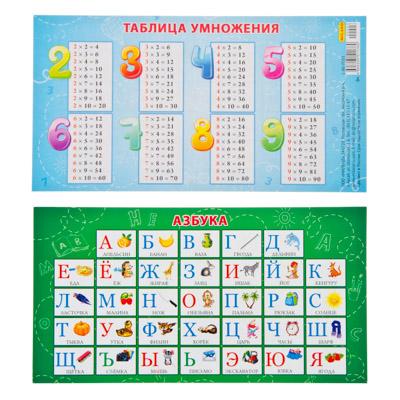 583-069 Карточка-шпаргалка Азбука (апельсин). Таблица умножения, бумага, 172х94, арт.1-80-0003