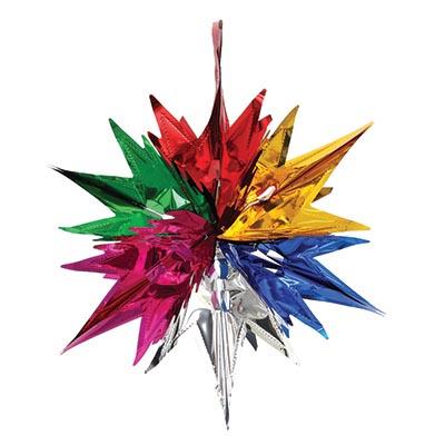 377-303 СНОУ БУМ Гирлянда-подвеска 33х30см, ПВХ, в виде Звезды, 6 цветов