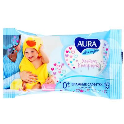 914-014 AURA Салфетки влажные для детей AURA ULTRA COMFORT 15шт арт.05155/13398