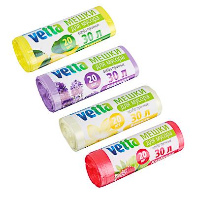 449-036 VETTA Мешки для мусора Bio 20шт, 30л, 9мкн, 4 аром.(ваниль, клубника, лимон, лаванда), 101-020