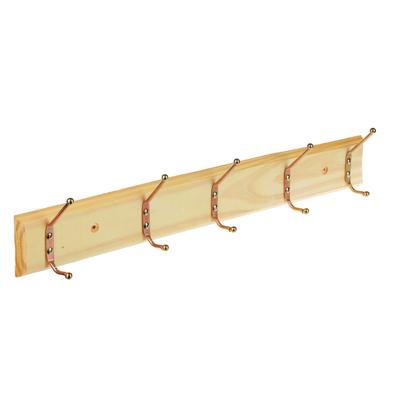465-169 Вешалка настенная, 5 двойных крючков, дерево, металл, 49х7см