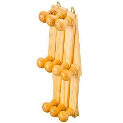465-172 Вешалка настенная складная, 10 крючков, дерево, 26см-100см