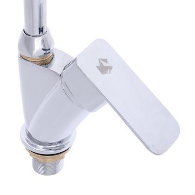 566-239 Смеситель Klabb 19 LUX для кухни с бок. ручкой, гибкий излив, керам. картридж, 35мм, хром, без подв