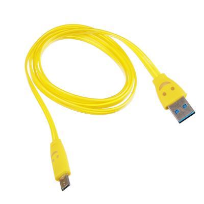 """916-006 FORZA Кабель для зарядки Micro USB, 1м, 1А, плоский кабель """"смайлик"""", 3 цвета"""