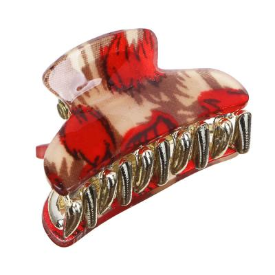 "324-093 Заколка-краб для волос, пластик, 3 см, ""Леопард"""