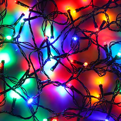 384-029 Гирлянда светодиодная Вьюн СНОУ БУМ 9м, 100 LED,мультицвет, 8 режимов, темный провод, 220В