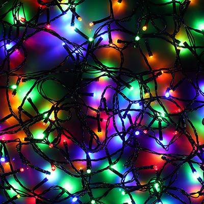 384-035 Гирлянда светодиодная Вьюн СНОУ БУМ 14 м, 180 LED,мультицвет, 8 режимов, темный провод, 220В