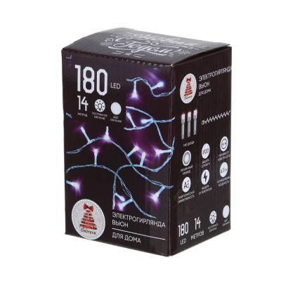 384-039 Гирлянда светодиодная Вьюн СНОУ БУМ 14 м, 180 LED, белый, пост. свечение, прозрачный провод, 220В