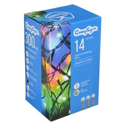 351-476 Гирлянда светодиодная Вьюн СНОУ БУМ 14 м, 300 LED, мультицвет, 8 режимов, ПВХ провод, 220В