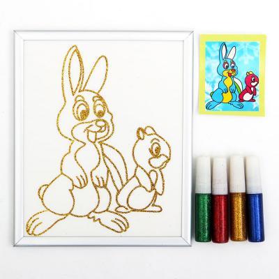 284-159 Раскраска блестками, бумага, пластик, блестки 4цв., 15х18см, 10 дизайнов