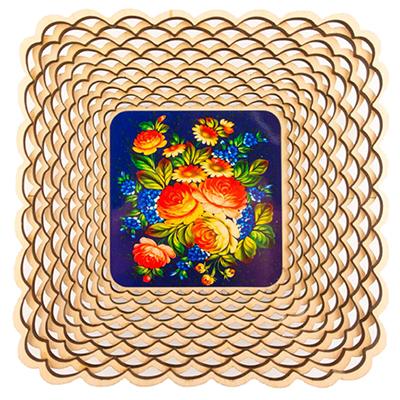 """809-029 Сухарница деревянная 19,1x19,1 см, 4 дизайна, """"Волшебный цветок"""""""