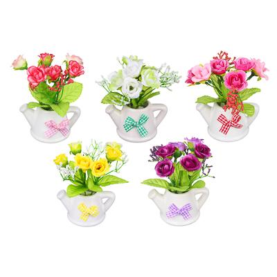 501-403 Цветы в горшке, керамика, пластик, 8х6,2х12см