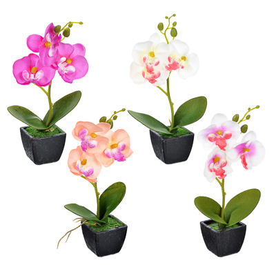 "501-407 Цветы в горшке ""В виде Орхидеи"", керамика, пластик, 21х8,5х5,5см, 4 цвета, арт.12-07"