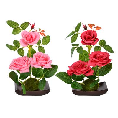 """501-408 Цветы в горшке """"В виде Розы"""", керамика, пластик, 17х9,5х6см, 2 цвета, арт.12-08"""