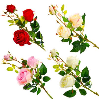 """501-411 Цветок искусственный """"В виде Розы"""", пластик, 80см, 4 цвета, арт.12-10"""