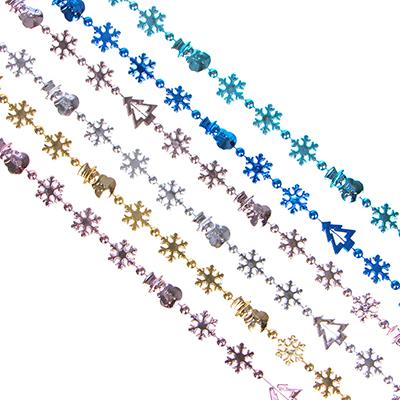 378-212 СНОУ БУМ Бусы декоративные, 200см, пластик, 6 цветов (1,40,43,28,12,31) арт 55-02