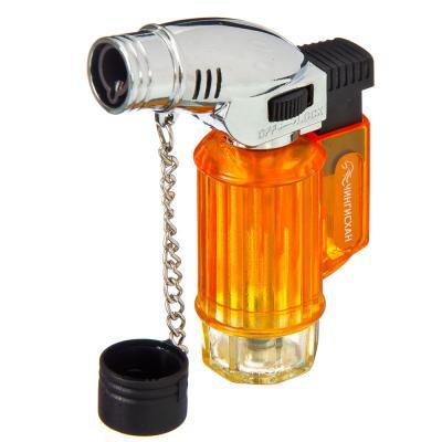 116-019 ЧИНГИСХАН Горелка газовая с пьезоподжигом, заправляемая, металл, пластик, 7,5x5,8x2,3см, YZ-689