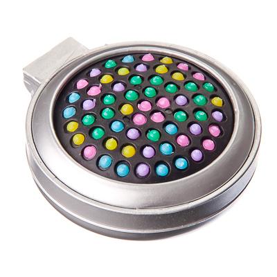 356-585 Расческа складная с зеркалом и цветными зубчиками, пластик, стекло, d6,5 см, 1 цвет