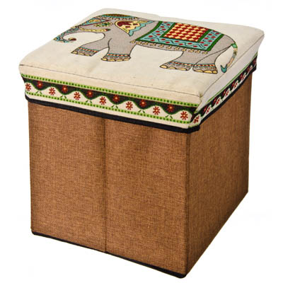 """465-179 Пуфик складной, текстиль, 31х31х31см, до 40 кг, 2 дизайна, """"Слоны"""""""