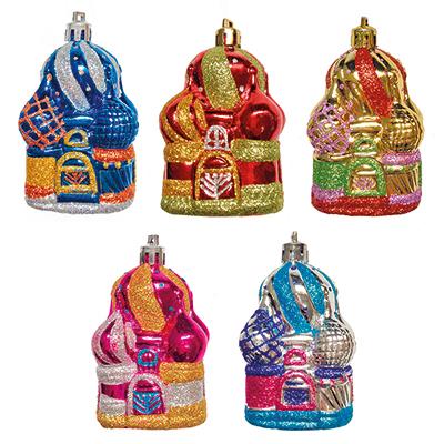 """376-581 СНОУ БУМ Набор украшений 2шт, 8см, пластик, """"Рождественские соборы"""", 5 дизайнов"""