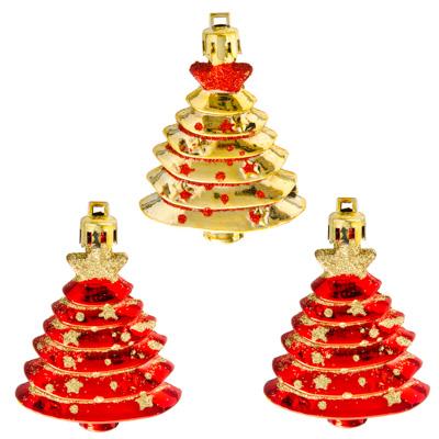376-590 СНОУ БУМ Набор украшений 3шт, 7см, пластик, в виде елочки, 2 дизайна: золото, красный