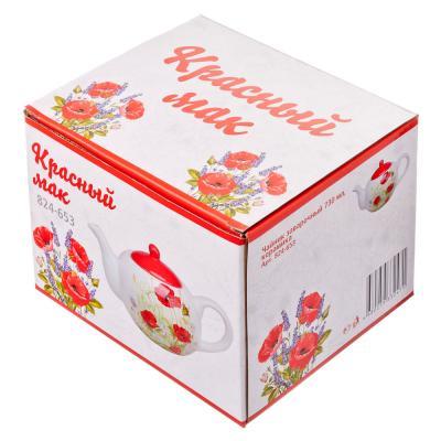 824-653 Красный мак Чайник заварочный, 730мл, керамика