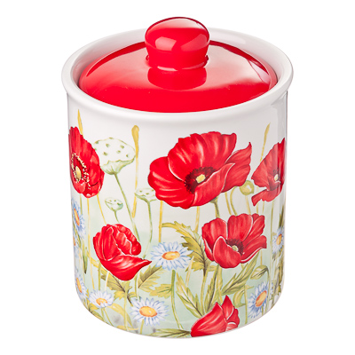 824-654 Красный мак Банка для сыпучих продуктов, 550мл, керамика