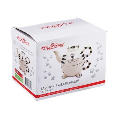 824-666 MILLIMI Милый котик Чайник заварочный с кружкой, чайник 310мл, кружка 310мл, керамика