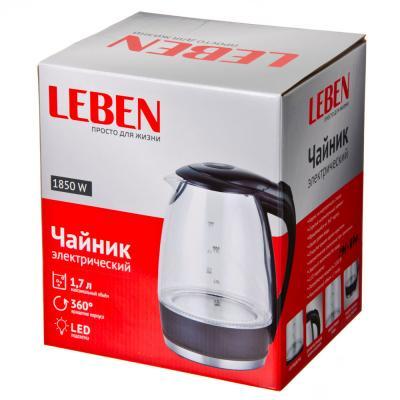 291-870 LEBEN Чайник электрический 1,7л, 1850Вт, скрытый нагр.элемент, стекло, чёрный, подсветка LED