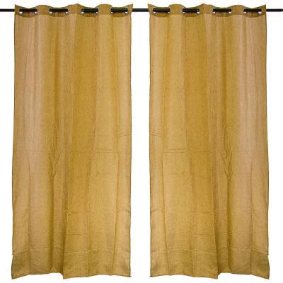 499-007 Комплект штор 2 шт, на люверсах, полулен, по 1,4x2,6м, коричневый
