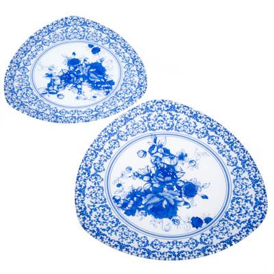 830-390 VETTA Гжельские мотивы Набор блюд треугольных 2 пр, 30см+25,4см, стекло, S33001210-H210, Дизайн GC